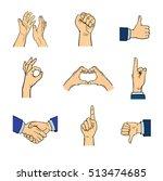 human hands popart style... | Shutterstock .eps vector #513474685
