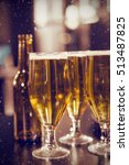 glasses of beer ready to serve... | Shutterstock . vector #513487825