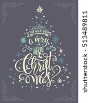 christmas greeting postcard... | Shutterstock . vector #513489811