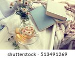 cup of tea  books ...   Shutterstock . vector #513491269
