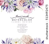 Stock photo greeting card with roses watercolor can be used as invitation card for wedding birthday and 513492475