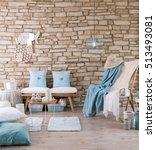brick wall lounge chair blue... | Shutterstock . vector #513493081