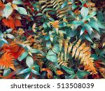 Tropical Garden Flower Bed Wit...