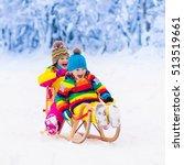 little girl and boy enjoying... | Shutterstock . vector #513519661