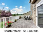 wooden walkout deck with white... | Shutterstock . vector #513530581