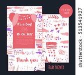 vector baby shower brush card...   Shutterstock .eps vector #513541927