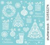 christmas decoration set   lots ... | Shutterstock .eps vector #513552274