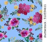 romantic floral seamless... | Shutterstock . vector #513554611