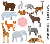 set of wild animals giraffe ... | Shutterstock .eps vector #513561247