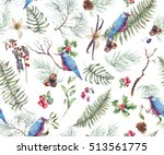 vintage floral seamless... | Shutterstock . vector #513561775