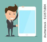 business man stand with phone ... | Shutterstock .eps vector #513571804