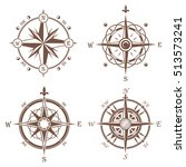 isolated vintage or old compass ... | Shutterstock .eps vector #513573241