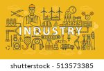 industry thin line banner or... | Shutterstock .eps vector #513573385