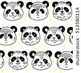 seamless pattern with pandas.... | Shutterstock .eps vector #513580114