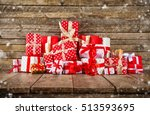 christmas background with pile... | Shutterstock . vector #513593695