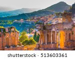 the ruins of taormina theater... | Shutterstock . vector #513603361