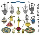colorful vector set of arabic... | Shutterstock .eps vector #513621004