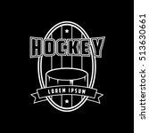 hockey emblem line icon on... | Shutterstock .eps vector #513630661