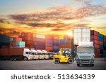 industrial container cargo... | Shutterstock . vector #513634339