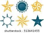 grunge vintage vector star... | Shutterstock .eps vector #513641455