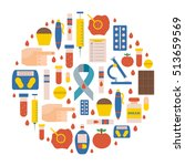 illustration with flat diabetes ... | Shutterstock . vector #513659569