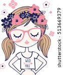 cute hipster girl with floral... | Shutterstock .eps vector #513669379