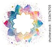 flower frame in oriental style. ... | Shutterstock . vector #513676705