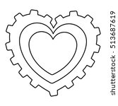 gear shape heart cartoon icon...