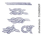 sea knot blue twisted rope hand ... | Shutterstock .eps vector #513688369
