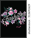 embroidery ethnic flowers neck... | Shutterstock .eps vector #513692629