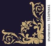 gold vintage baroque corner...   Shutterstock .eps vector #513696661