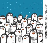 christmas card with cute penguin | Shutterstock .eps vector #513702319