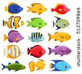 funny fish vector characters.... | Shutterstock .eps vector #513709864