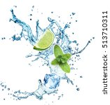 ice cubes  mint leaves  water... | Shutterstock . vector #513710311