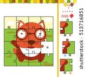 cartoon illustration of jigsaw... | Shutterstock .eps vector #513716851