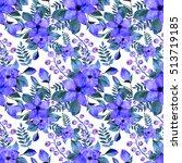 watercolor flower seamless... | Shutterstock . vector #513719185
