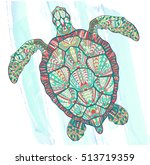 patterned turtle on the grunge... | Shutterstock .eps vector #513719359
