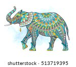 patterned elephant on the... | Shutterstock .eps vector #513719395