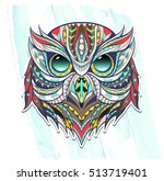 patterned head owl on the... | Shutterstock .eps vector #513719401