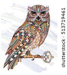 patterned owl with key on the... | Shutterstock .eps vector #513719461
