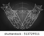 graphic hands folded in the... | Shutterstock .eps vector #513729511