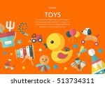 toys concept in flat design... | Shutterstock .eps vector #513734311