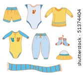 set of baby boy  clothes | Shutterstock . vector #51374404