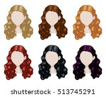 set of woman hair style sprites.... | Shutterstock .eps vector #513745291