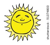 quirky drawing of a happy sun | Shutterstock .eps vector #51374803