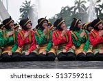 Small photo of Jakarta, Indonesia - April 19, 2015 : Ratoh Jaroe Saman dancers perform in Jakarta, Indonesia. Saman Dance is a traditional dance of the Province of Nanggroe Aceh Darussalam, Indonesia.