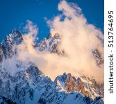 Small photo of Alpenglow over Chamonix Aiguilles, French Alps