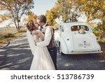 happy bride and groom hugging... | Shutterstock . vector #513786739
