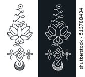 unalome   lotus sacred symbol  | Shutterstock .eps vector #513788434