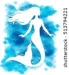 mermaid  vector silhouette... | Shutterstock .eps vector #513794221